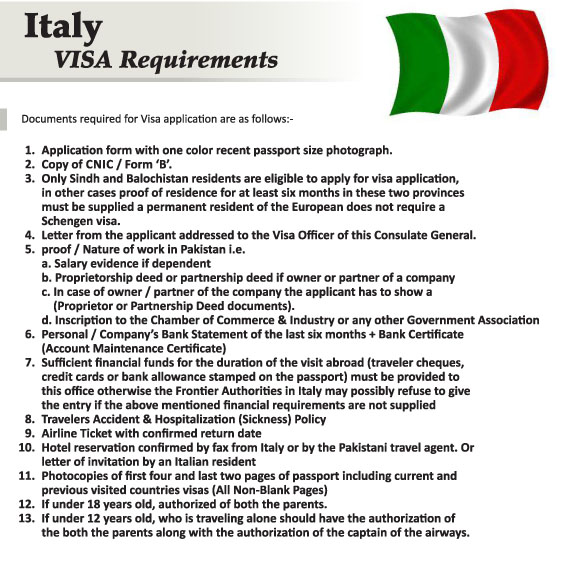 Italy Travel Visa Documents